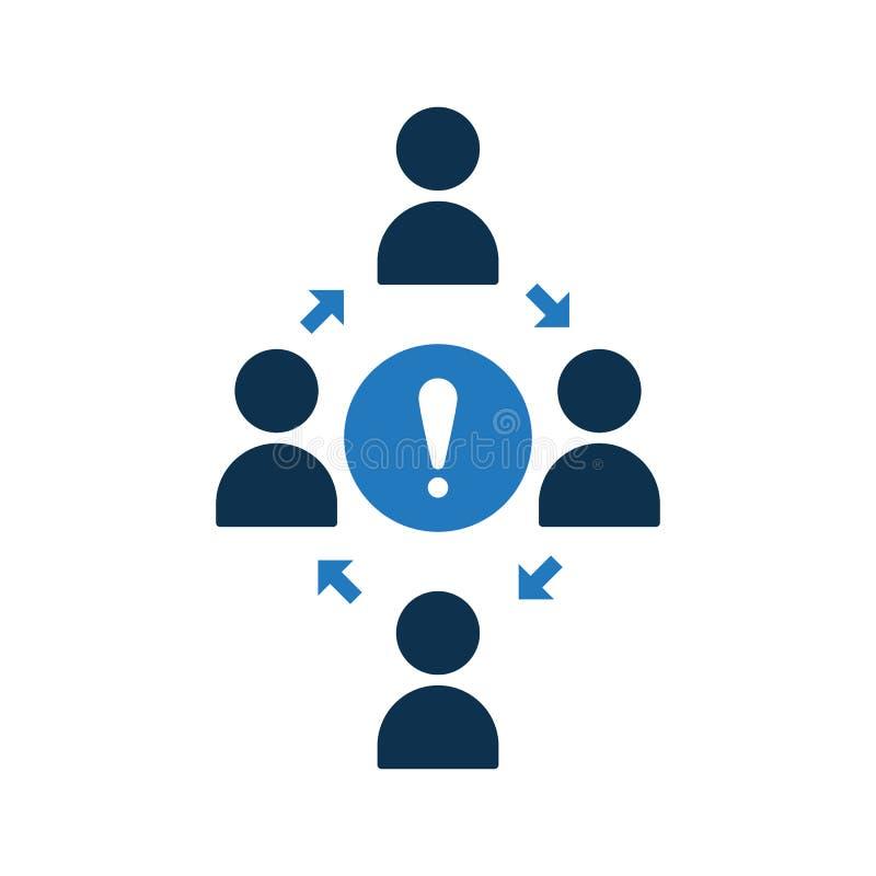 Icono de conexión de la gente Icono de la comunidad con la marca de exclamación Icono y alarma, error, alarma, símbolo del trabaj stock de ilustración