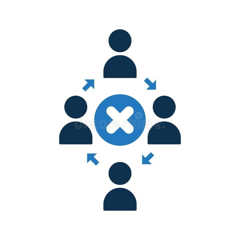Icono de conexión de la gente Icono de la comunidad con la muestra de la cancelación El icono y el cierre, cancelación del trabaj ilustración del vector