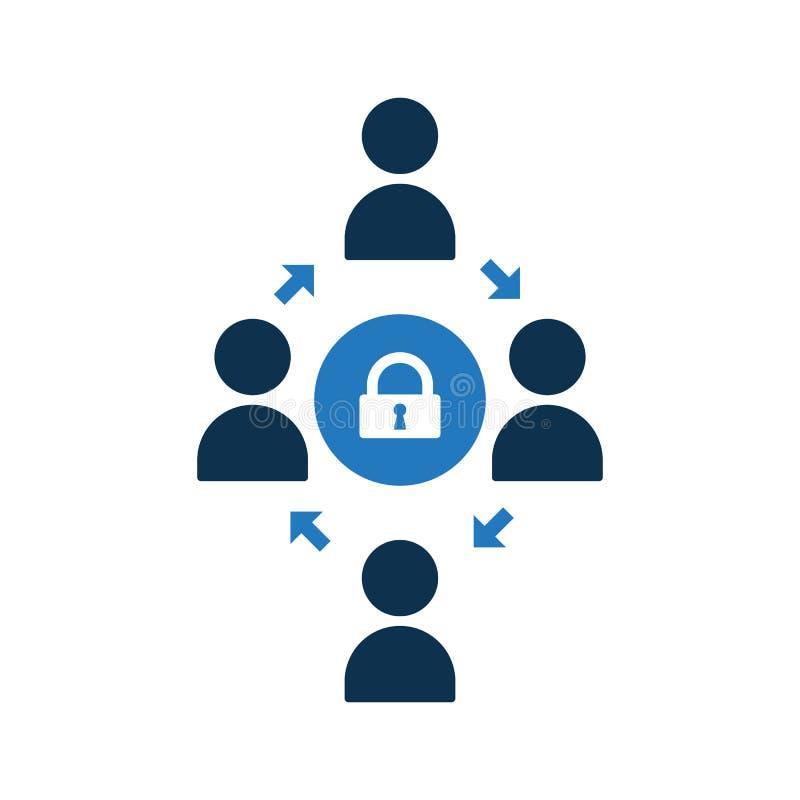 Icono de conexión de la gente Icono de la comunidad con la muestra del candado Icono y seguridad, protección, símbolo del trabajo ilustración del vector