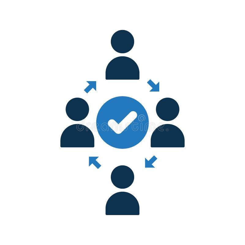 Icono de conexión de la gente Icono de la comunidad con la muestra del control El icono del trabajo en equipo y aprobado, confirm ilustración del vector