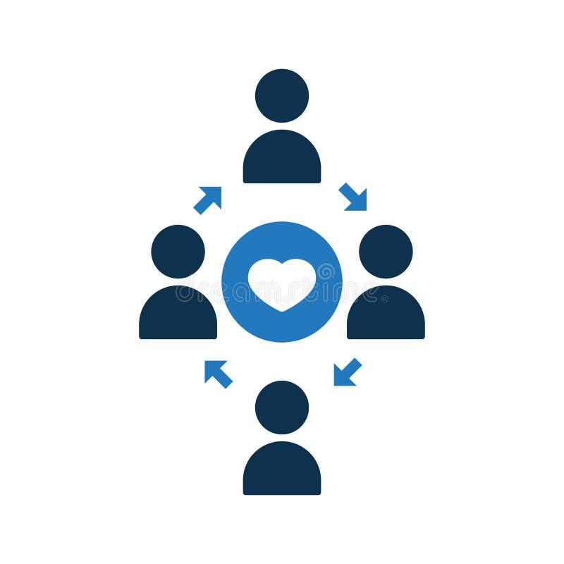 Icono de conexión de la gente Icono de la comunidad con la muestra del corazón Icono y favorito del trabajo en equipo, como, amor ilustración del vector