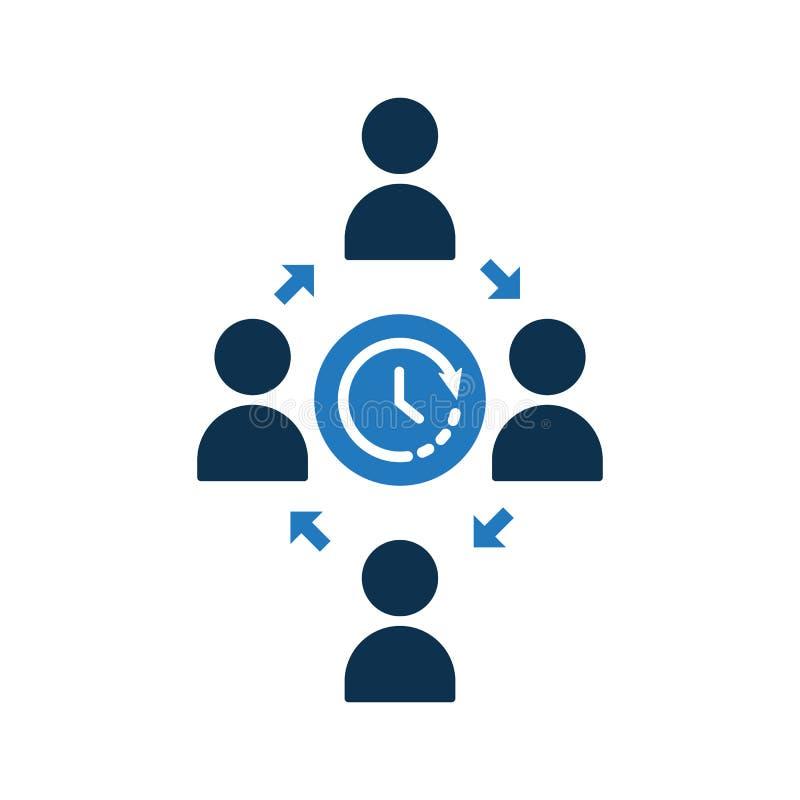 Icono de conexión de la gente Icono de la comunidad con la muestra del tiempo Icono y cuenta descendiente, plazo, horario, símbol ilustración del vector