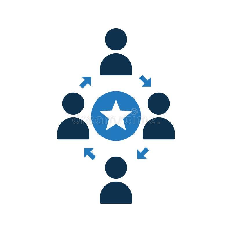 Icono de conexión de la gente Icono de la comunidad con la muestra de la estrella Icono del trabajo en equipo y el símbolo mejor, libre illustration