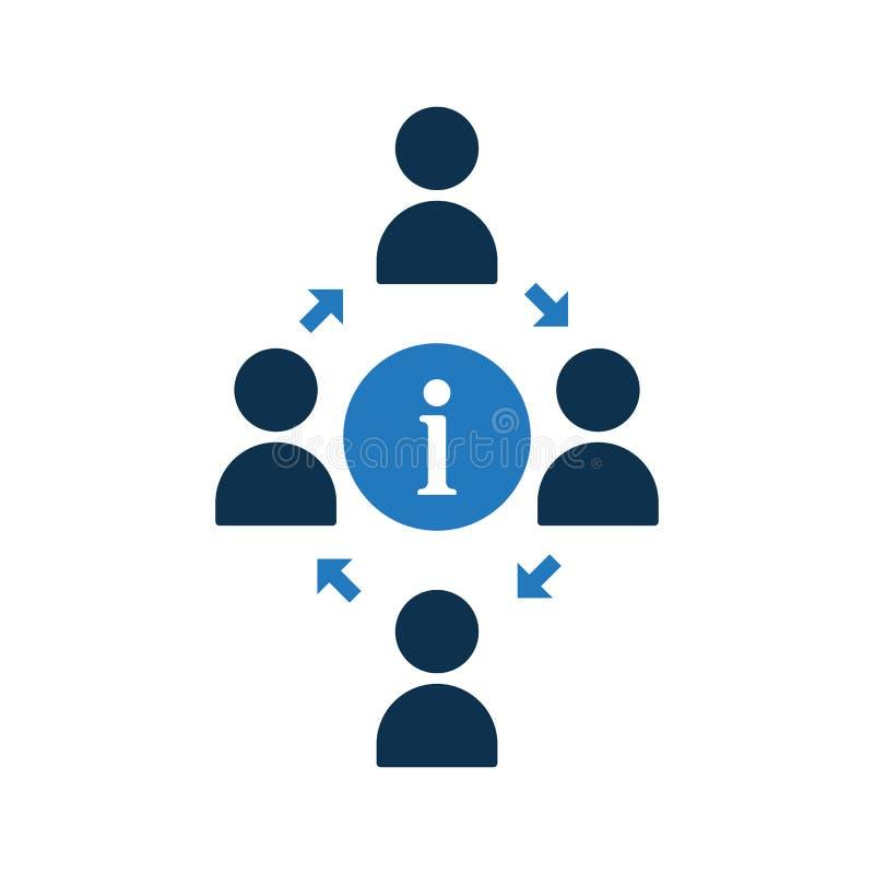 Icono de conexión de la gente Icono de la comunidad con la muestra de la información Icono del trabajo en equipo y alrededor, FAQ ilustración del vector