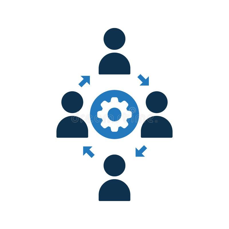Icono de conexión de la gente Icono de la comunidad con la muestra de los ajustes El icono del trabajo en equipo y modifica, puso ilustración del vector