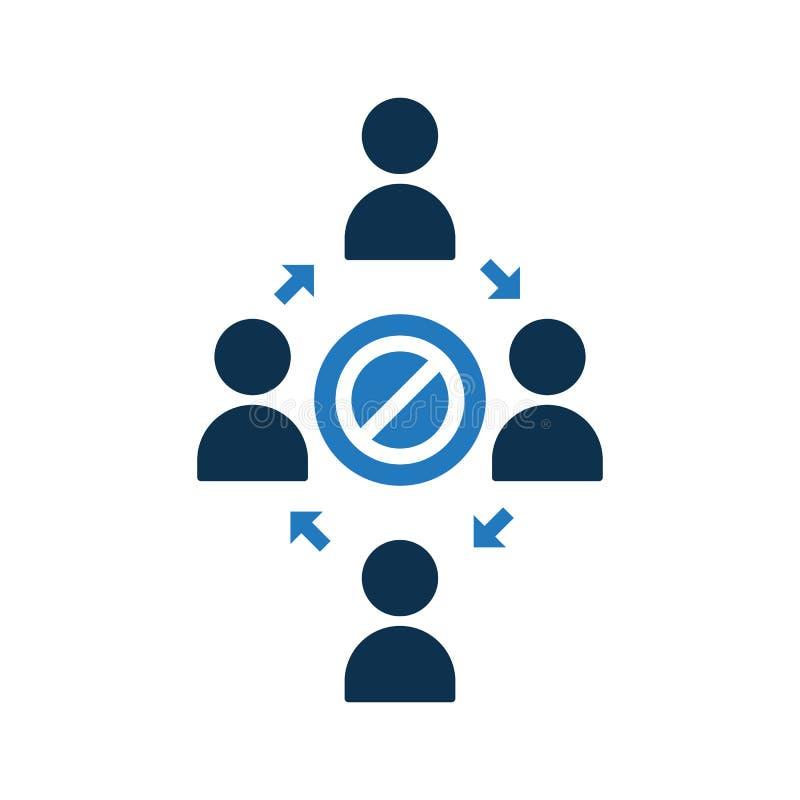 Icono de conexión de la gente Icono de la comunidad con la muestra no permitida El icono y el bloque del trabajo en equipo, prohi ilustración del vector
