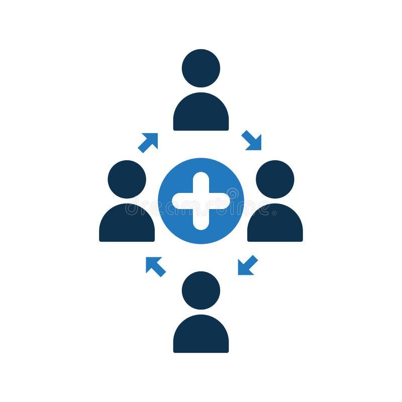 Icono de conexión de la gente El icono de la comunidad con añade la muestra Icono del trabajo en equipo y nuevo, más, positivo sí libre illustration