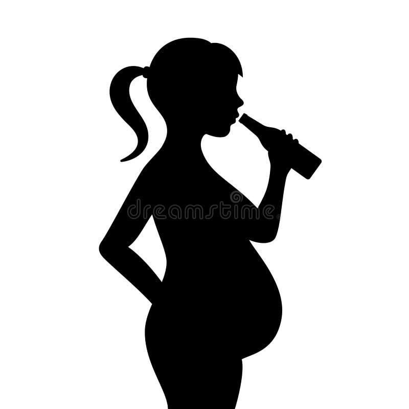 Icono de consumición del vector del alcohol de la muchacha embarazada stock de ilustración