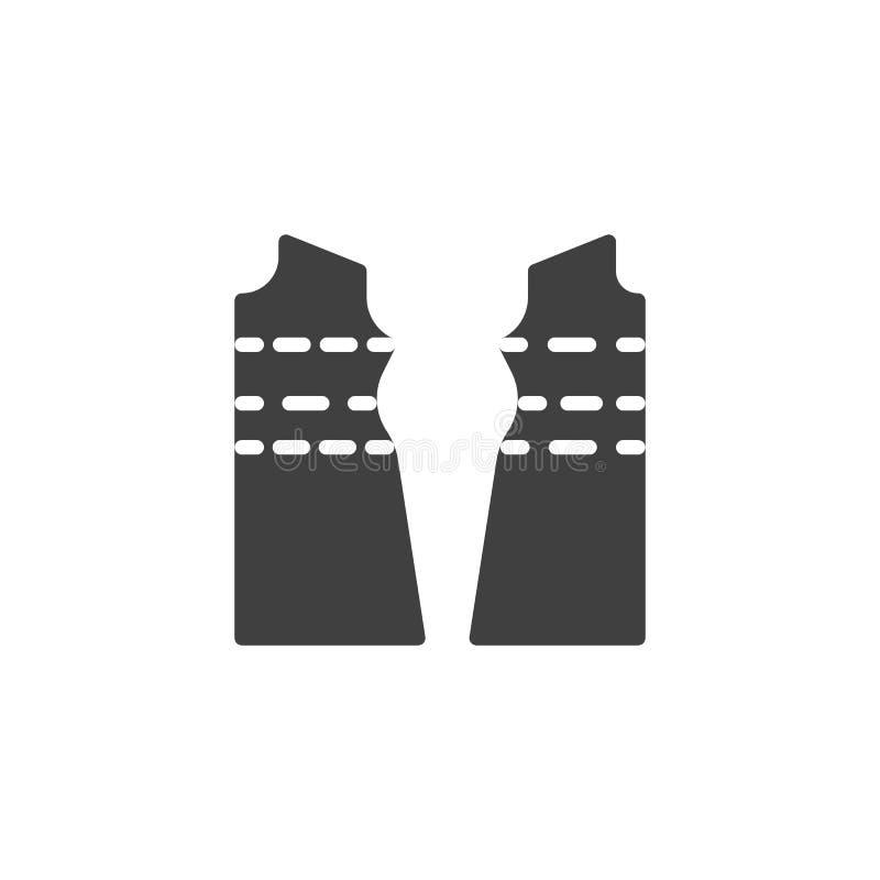 Icono de costura del vector de la tela de la ropa ilustración del vector