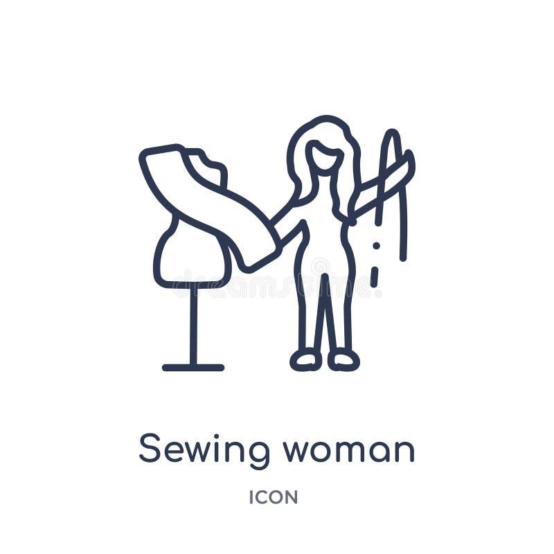Icono de costura linear de la mujer de la colección del esquema de las señoras Línea fina icono de costura de la mujer aislado en stock de ilustración
