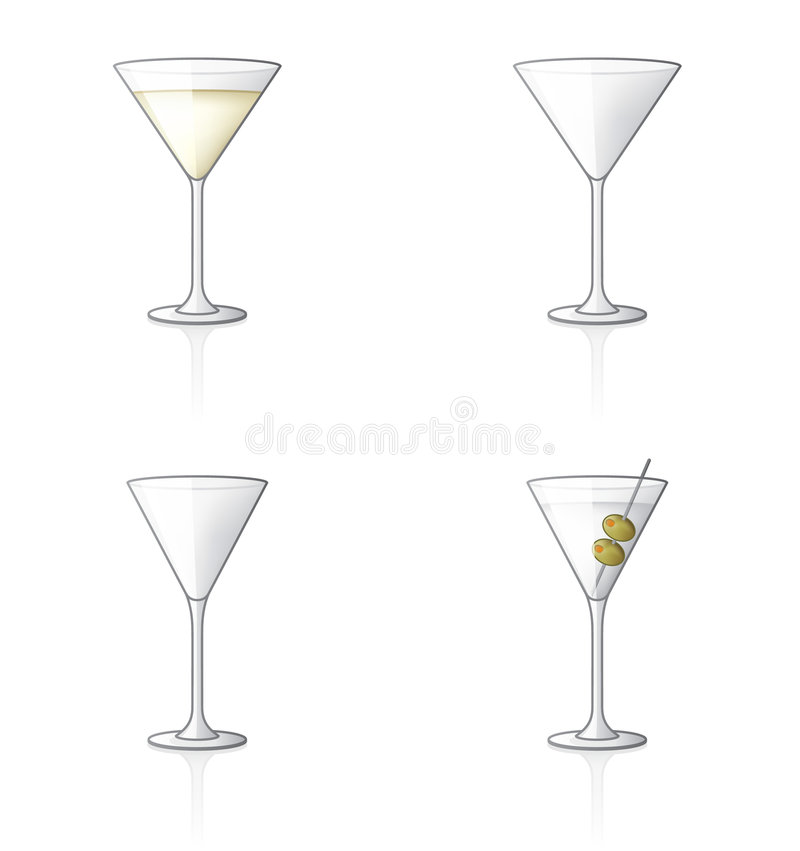 Icono de cristal 61b determinado, Martini ilustración del vector