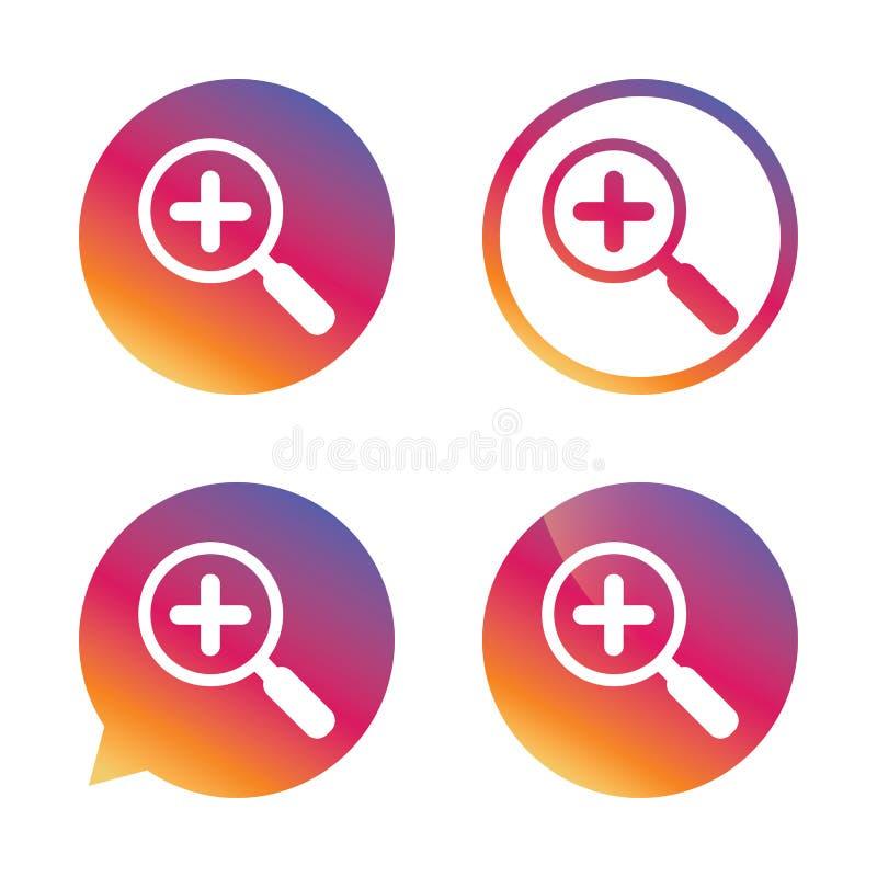 Icono de cristal de la muestra de la lupa Herramienta del enfoque nearsighted libre illustration