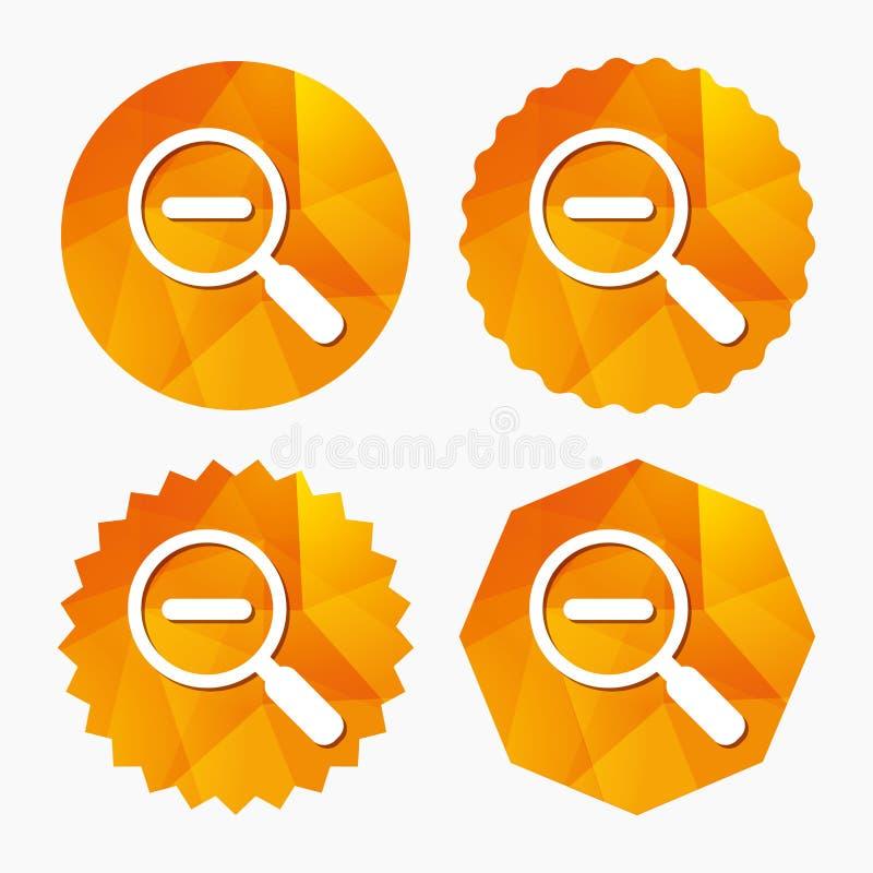 Icono de cristal de la muestra de la lupa Herramienta del enfoque nearsighted stock de ilustración
