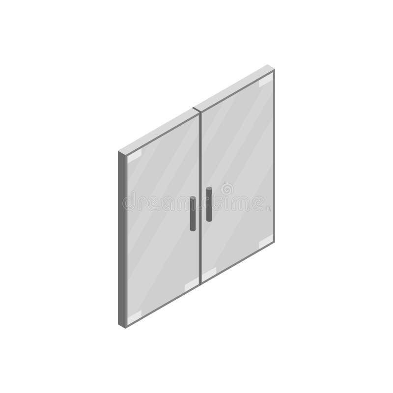 Icono de cristal doble de la puerta de la oficina, estilo isométrico 3d libre illustration