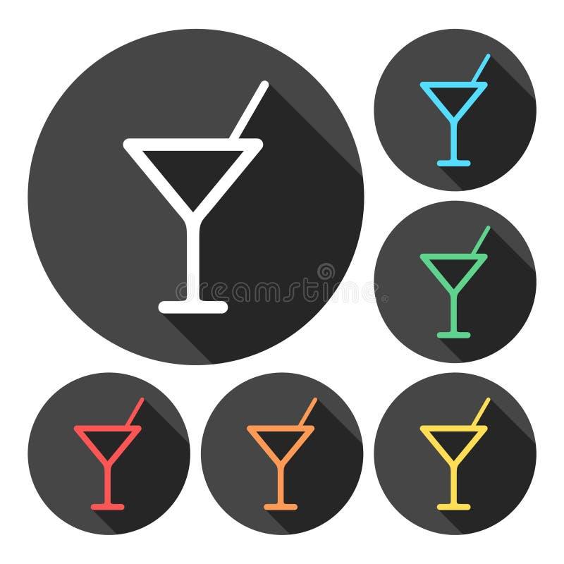 Icono de cristal de Martini, sistema de iconos de las bebidas ilustración del vector