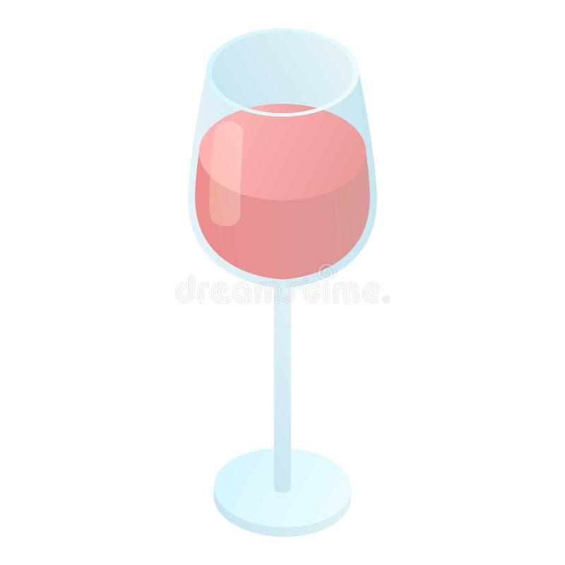 Icono de cristal de vino tinto, estilo isométrico libre illustration