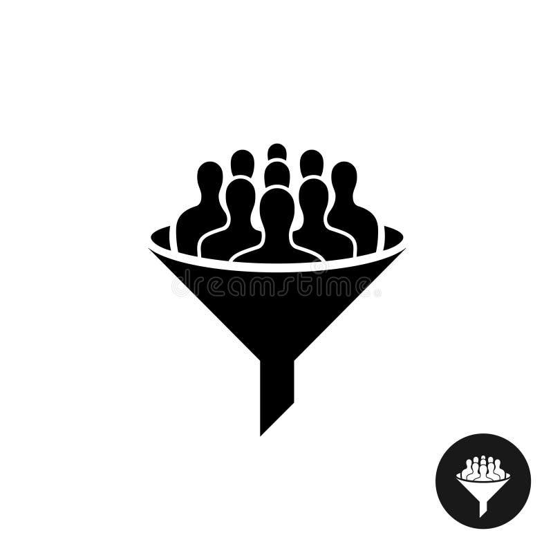 Icono de Crowdfunding Muchedumbre de silueta de la gente con embudo ilustración del vector