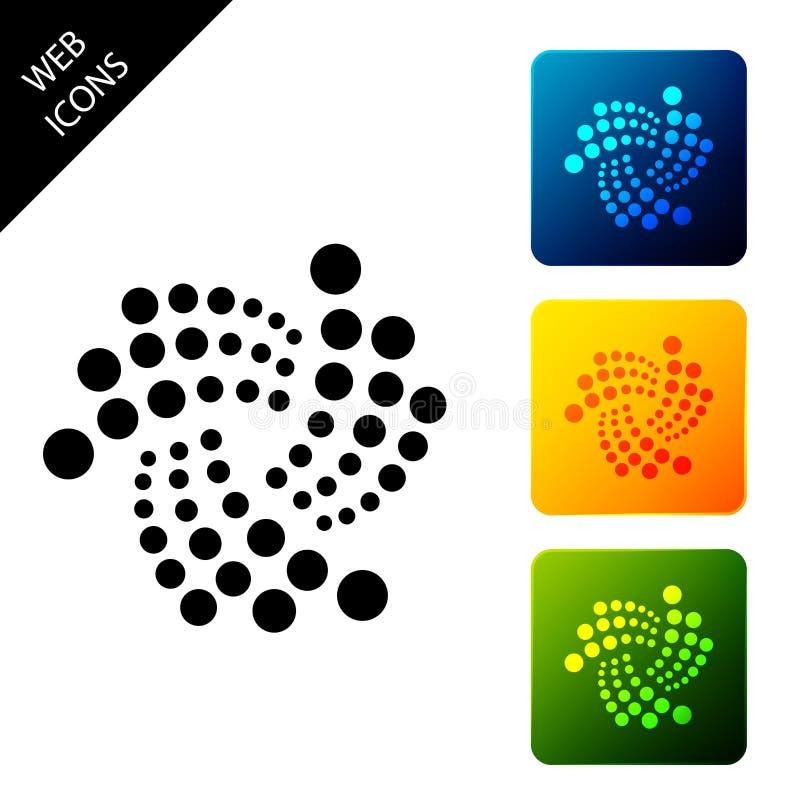 Icono de Cryptomoneda IOTA MIOTA aislado Moneda de bit física Moneda digital Símbolo Altcoin Basado en cadena de bloqueo stock de ilustración
