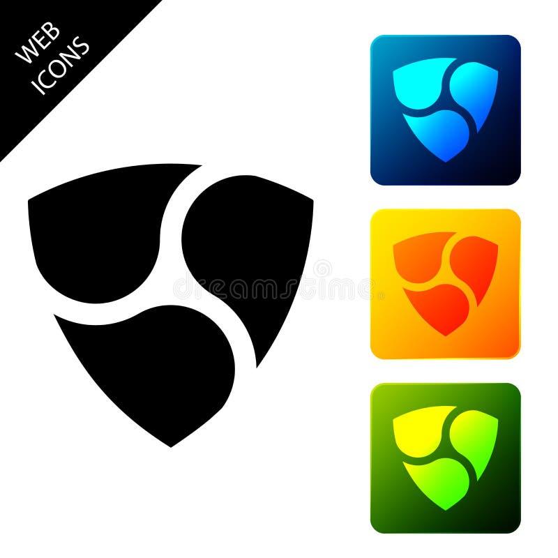 Icono de Cryptomoneda NEM XEM aislado Moneda de bit física Moneda digital Símbolo Altcoin Seguridad basada en la cadena de bloque stock de ilustración