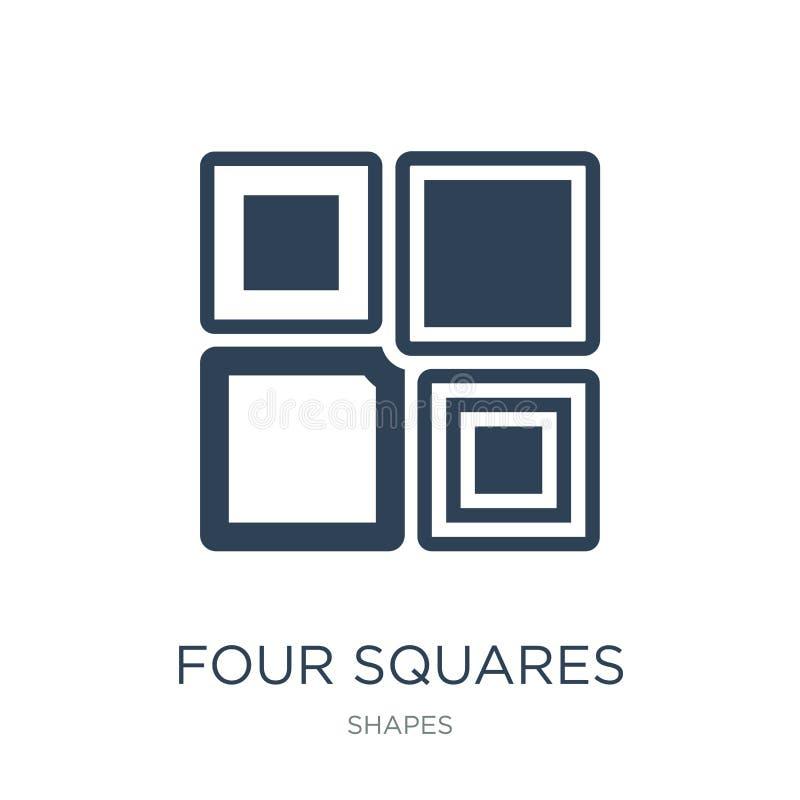 icono de cuatro cuadrados en estilo de moda del diseño icono de cuatro cuadrados aislado en el fondo blanco icono del vector de c ilustración del vector