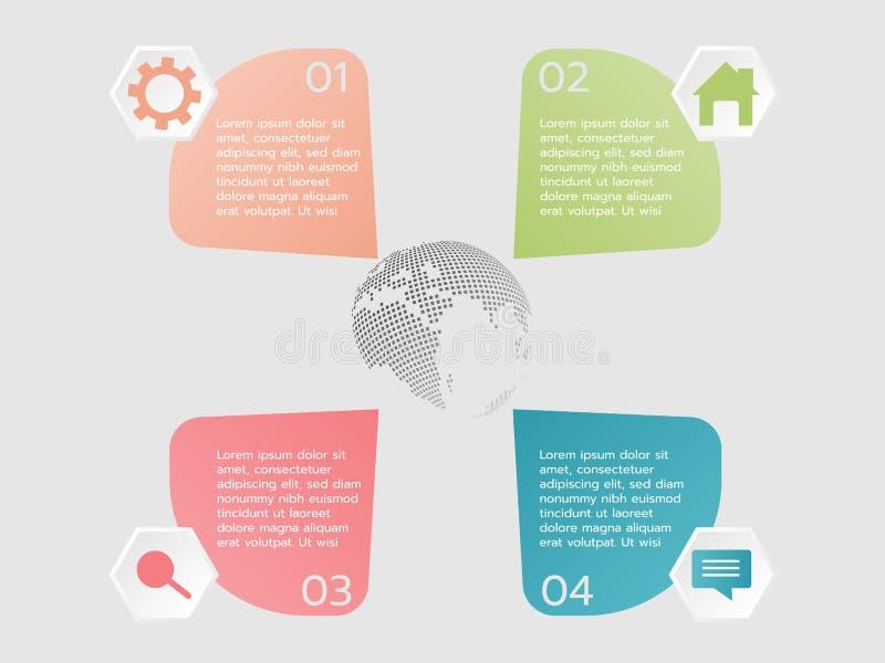 Icono de cuatro pasos y muestra infographic del texto para utilizado, illustratio ilustración del vector