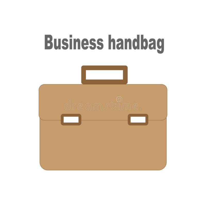 Icono de cuero auténtico del bolso del negocio del vintage ilustración del vector
