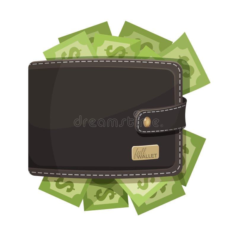 Icono de cuero de la cartera por completo del emblema del vector del dinero libre illustration