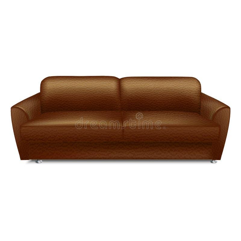 Icono de cuero suave del sofá, estilo realista ilustración del vector