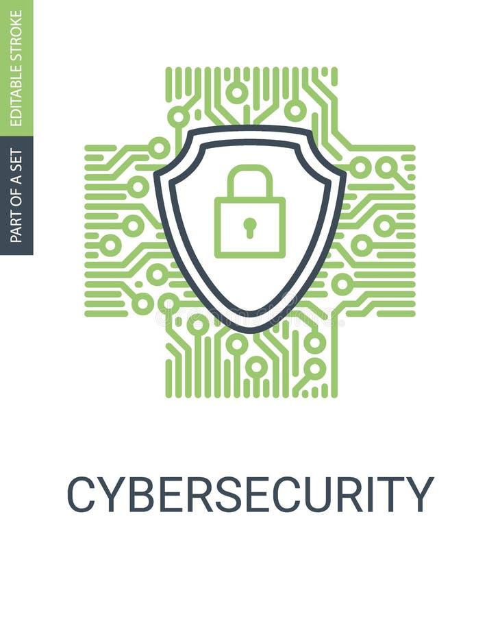 Icono de Cybersecurity con el escudo y la cerradura de la protección stock de ilustración