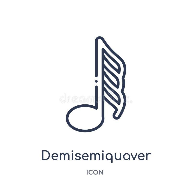 Icono de Demisemiquaver de la música y de la colección del esquema de los medios Línea fina icono del demisemiquaver aislado e ilustración del vector