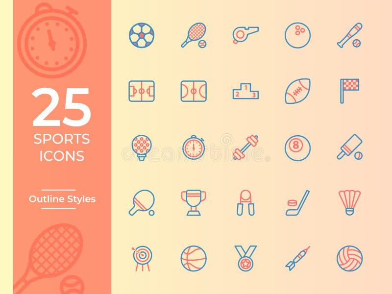 Icono de 25 deportes, símbolo de los deportes Iconos del vector del esquema stock de ilustración