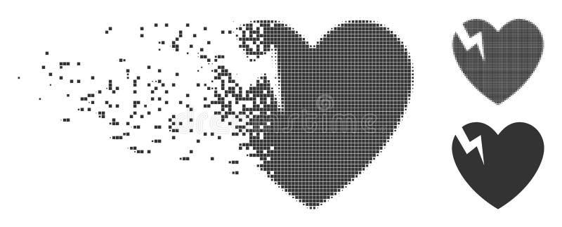 Icono de desaparición del tono medio del pixel de la grieta del corazón ilustración del vector