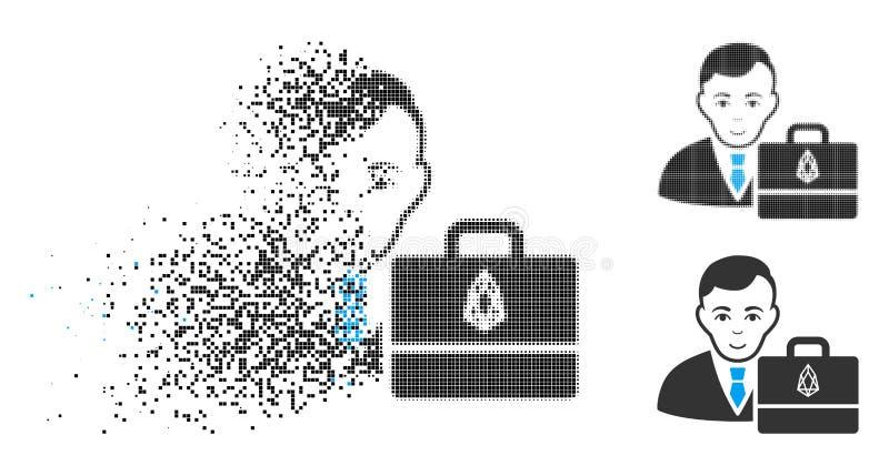 Icono de desintegración del FOE Accounter del tono medio de Pixelated con la cara stock de ilustración