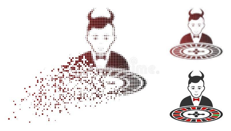 Icono de desintegración de Dot Halftone Devil Roulette Croupier libre illustration