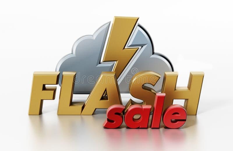 Icono de destello del texto, de la nube y del relámpago de la venta ilustración 3D stock de ilustración