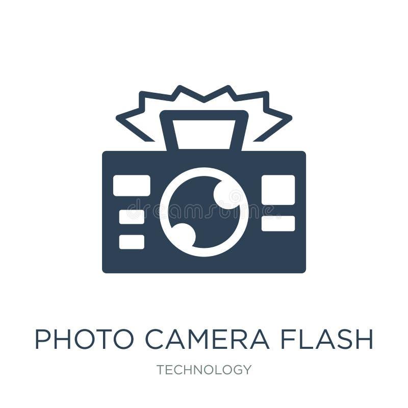 icono de destello de la cámara de la foto en estilo de moda del diseño icono de destello de la cámara de la foto aislado en el fo stock de ilustración