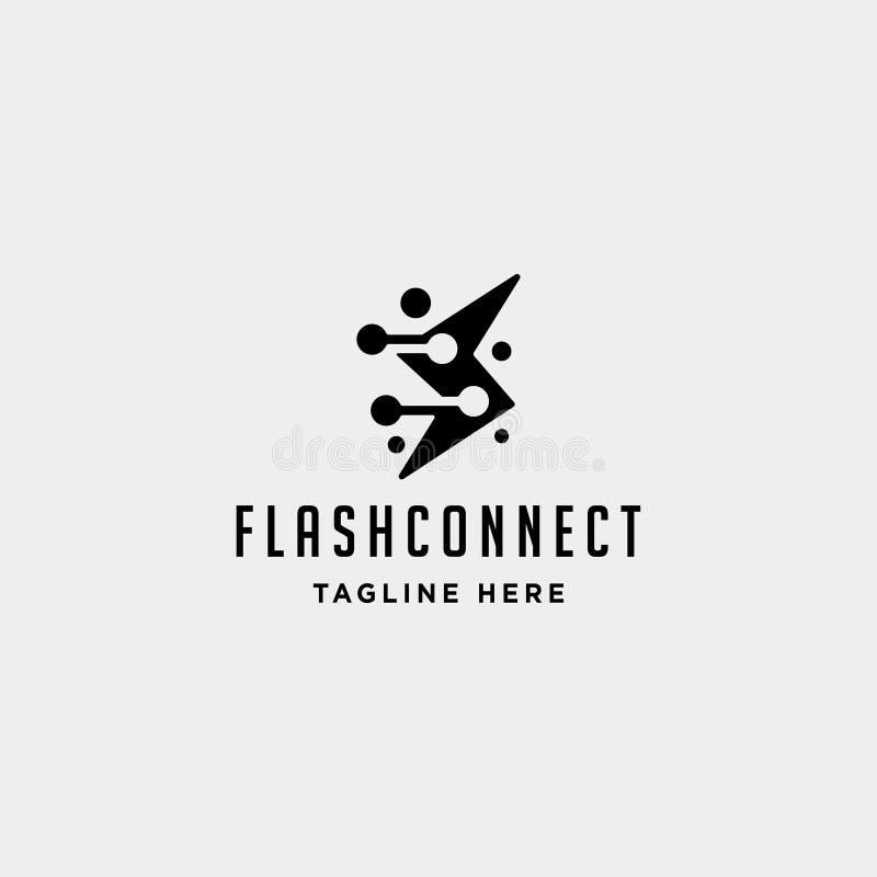 icono de destello de la muestra del símbolo de la conexión de poder del vector del diseño del logotipo de Internet del trueno ilustración del vector