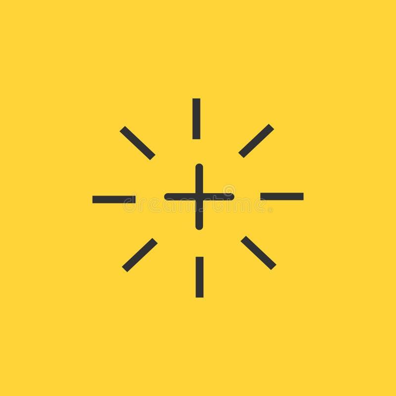 icono de destello más o cruzado, ejemplo del vector aislado en fondo amarillo libre illustration