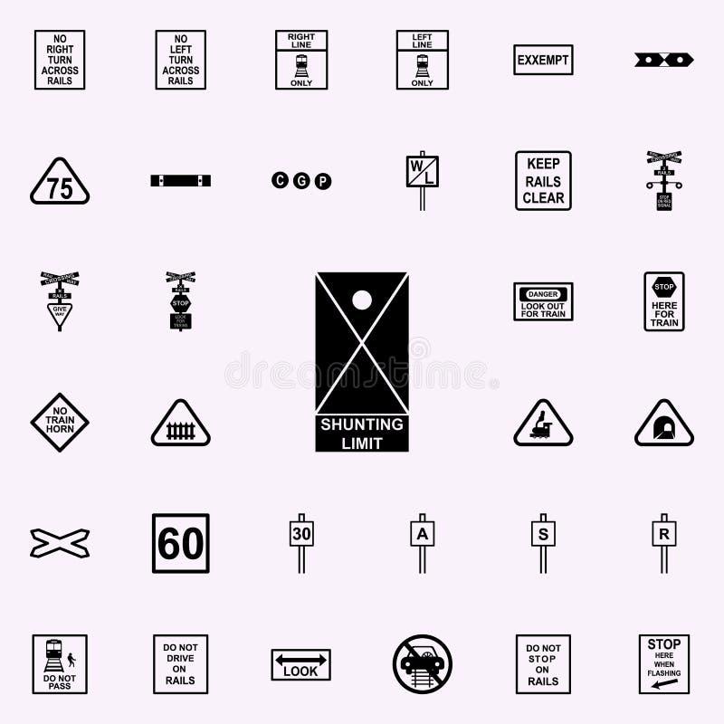 icono de desvío del límite Sistema universal de los iconos ferroviarios de las advertencias para el web y el móvil libre illustration