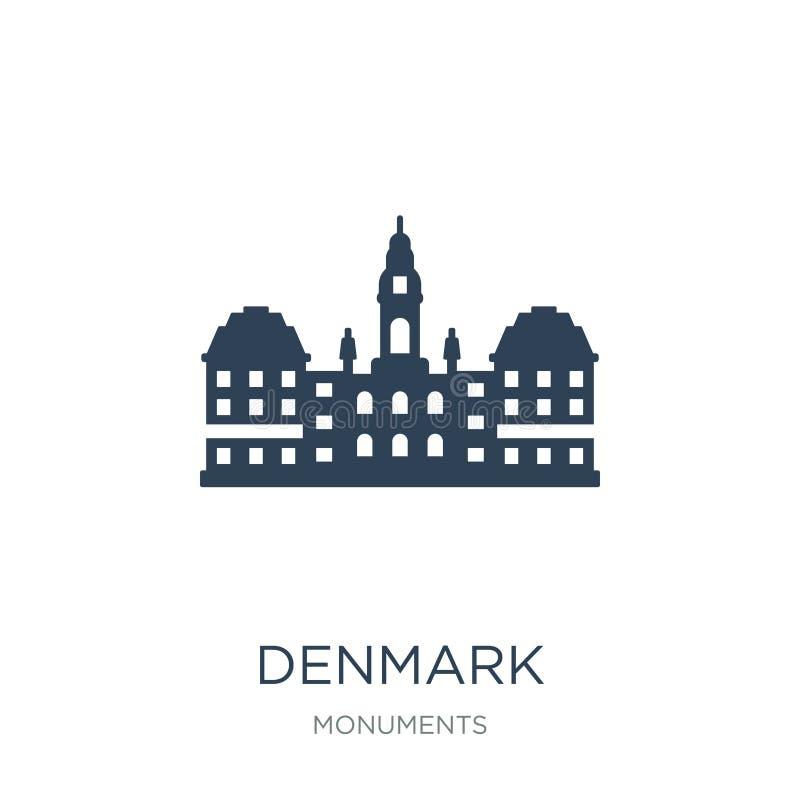 icono de Dinamarca en estilo de moda del diseño icono de Dinamarca aislado en el fondo blanco símbolo plano simple y moderno del  ilustración del vector