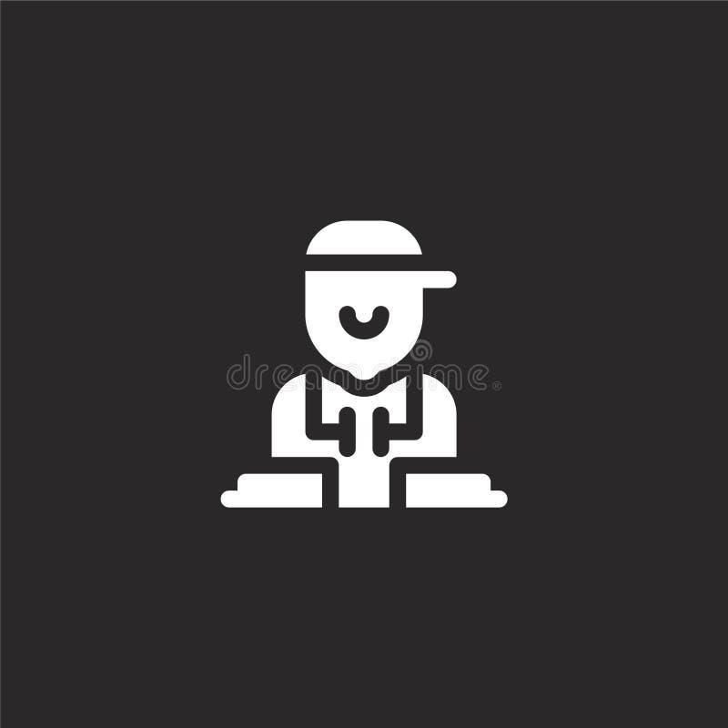 Icono de DJ Icono llenado de DJ para el diseño y el móvil, desarrollo de la página web del app Icono de DJ de la colección llenad ilustración del vector