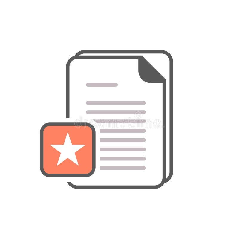 Icono de documento con la muestra de la estrella Icono de documento y el símbolo mejor, preferido, de clasificación ilustración del vector