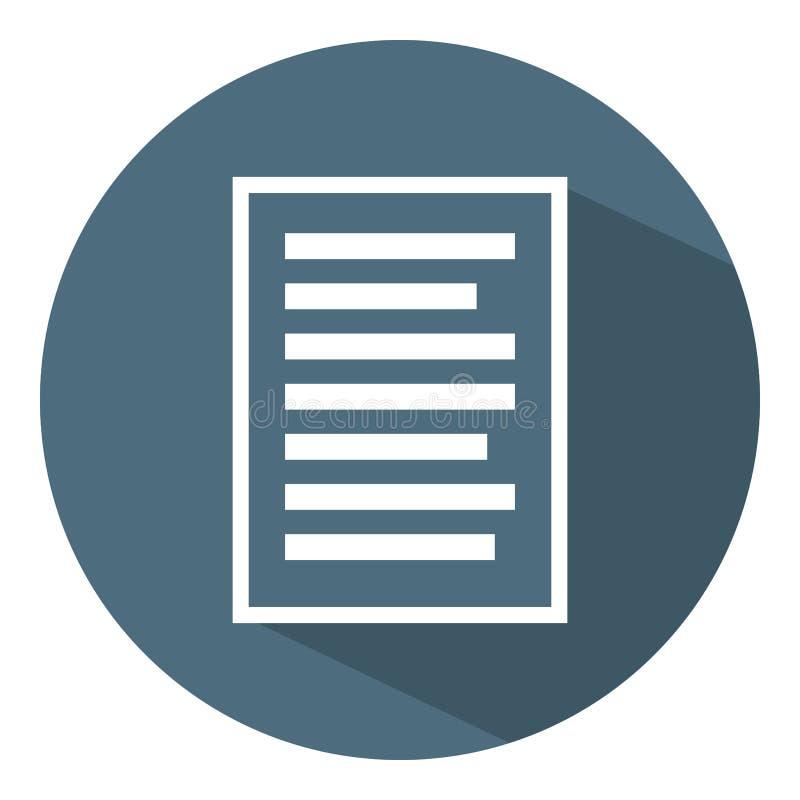 Icono de documento Concepto blanco del negocio de la muestra Estilo plano Ejemplo del vector para el dise?o, web, Infographic stock de ilustración