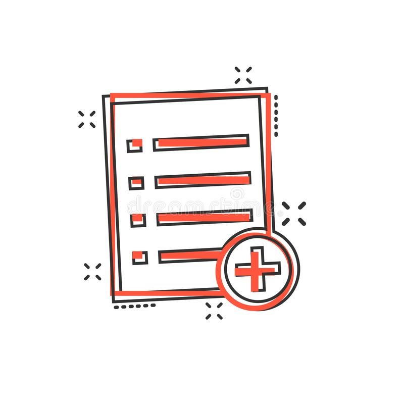 Icono de documento de la historieta del vector en estilo cómico Enfermedad de papel de la muestra de la página stock de ilustración