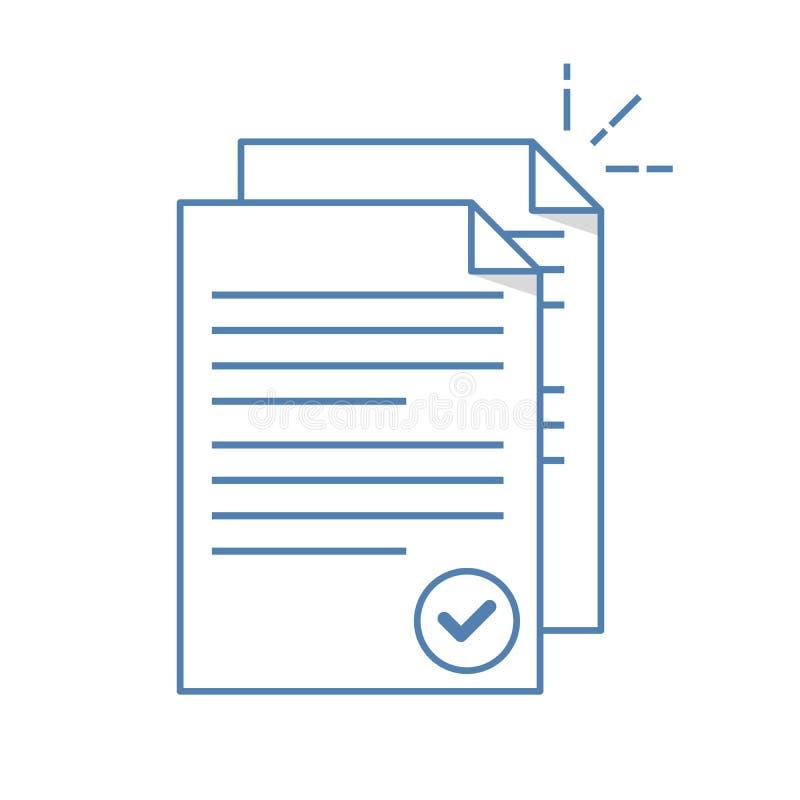 Icono de documentos Pila de las hojas de papel Documento confirmado o aprobado Línea ejemplo plana en blanco ilustración del vector