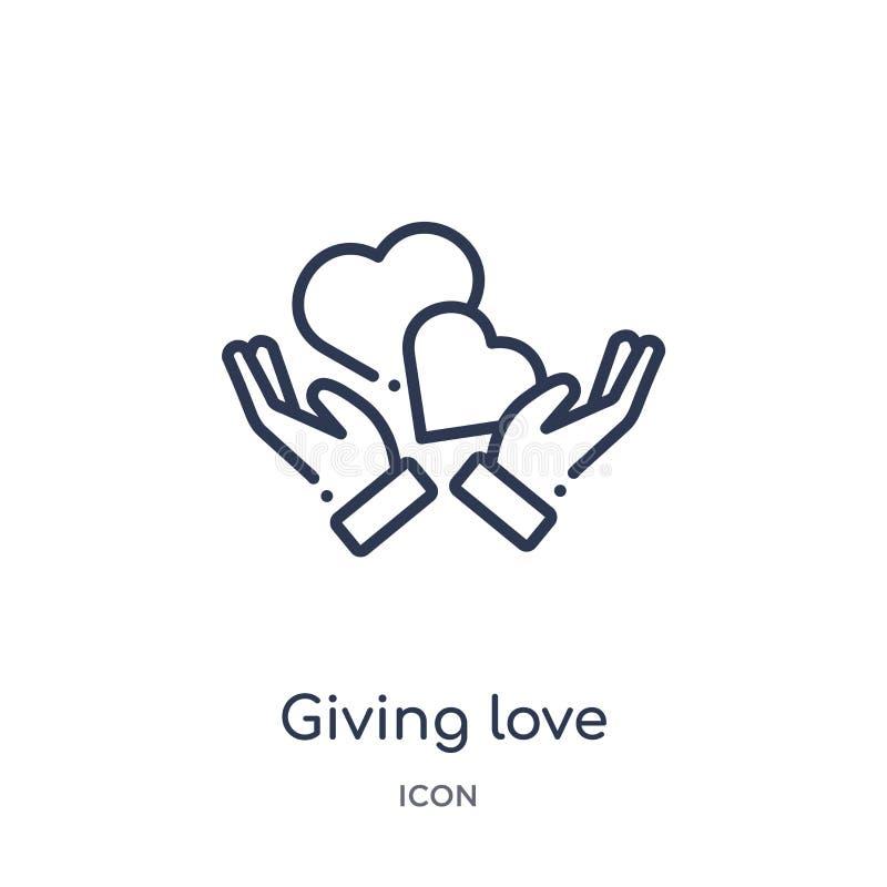 Icono de donante linear del amor de la colección del esquema de las manos y de los gestos Línea fina que da el icono del amor ais ilustración del vector