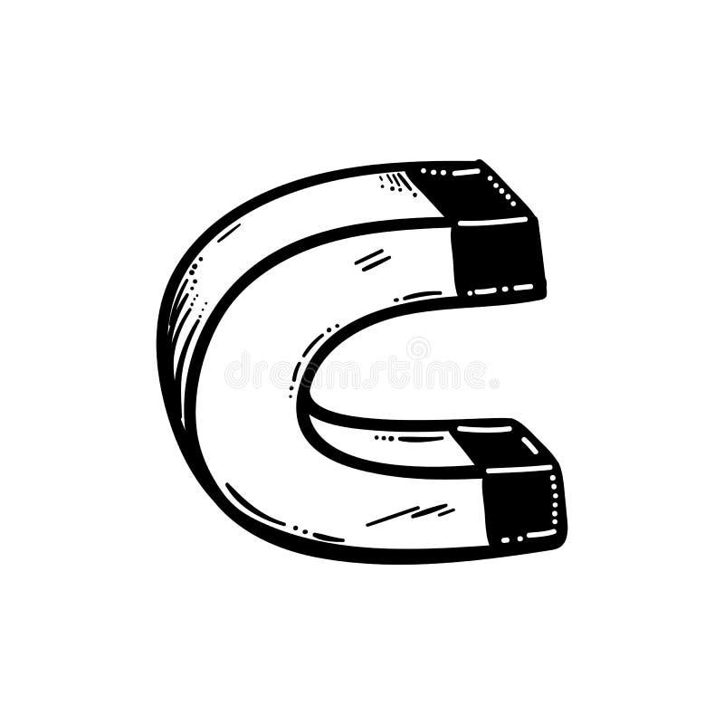 Icono de doodle de imán dibujado a mano. Esbozo negro dibujado a mano. Símbolo de caricatura de signos. Elemento decorativo. Fon ilustración del vector