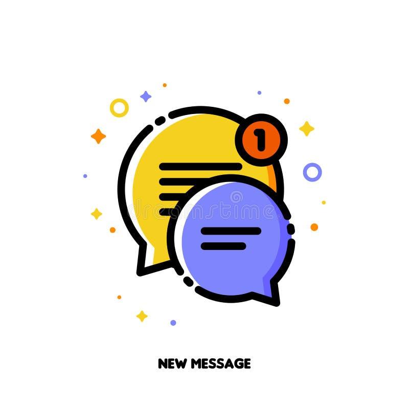 Icono de dos burbujas lindas del discurso para el nuevo concepto del mensaje stock de ilustración