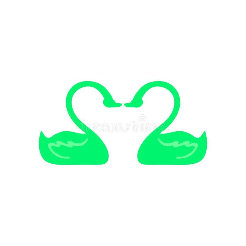 Icono de dos cisnes en amor Se ejecuta en color ácido-verde Estilo plano Vector stock de ilustración