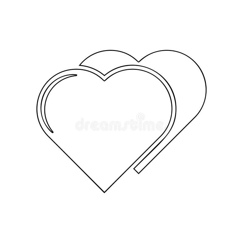 Icono de dos corazones Elemento del amor para el concepto y el icono m?viles de los apps de la web Esquema, l?nea fina icono para ilustración del vector